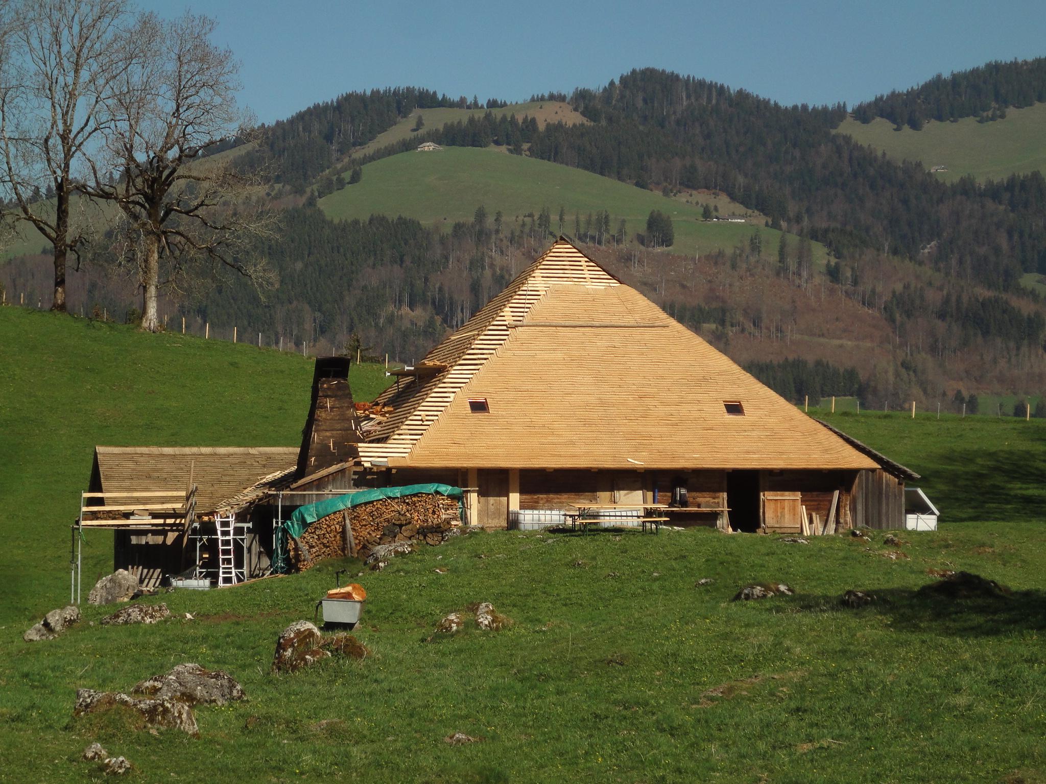 Chalet d'alpage: Erneutes Schindeldach